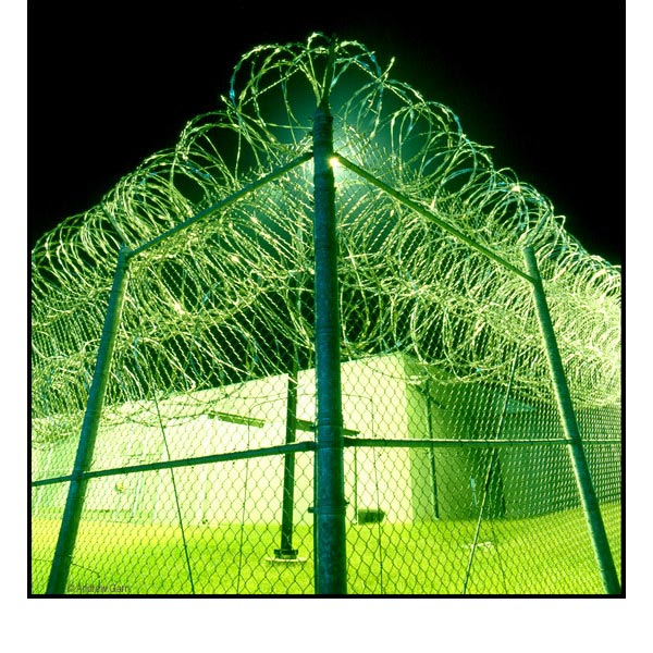 Prison Fence At Night: Prison Photography