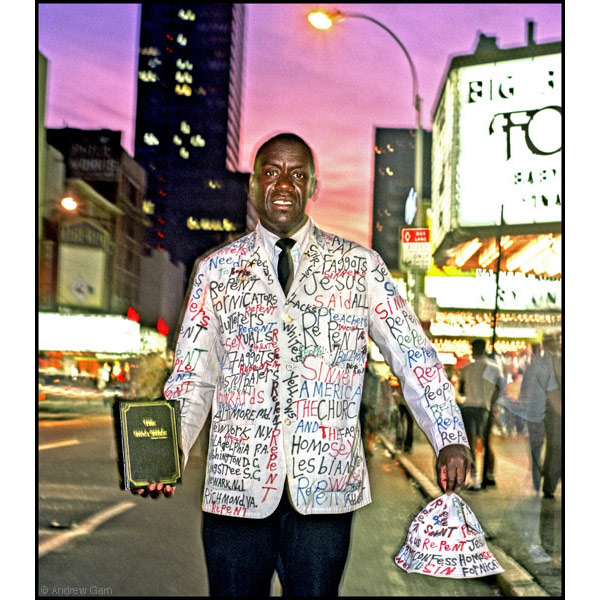 Rev. David Godard, street preacher, dusk, 42nd Street, NYC